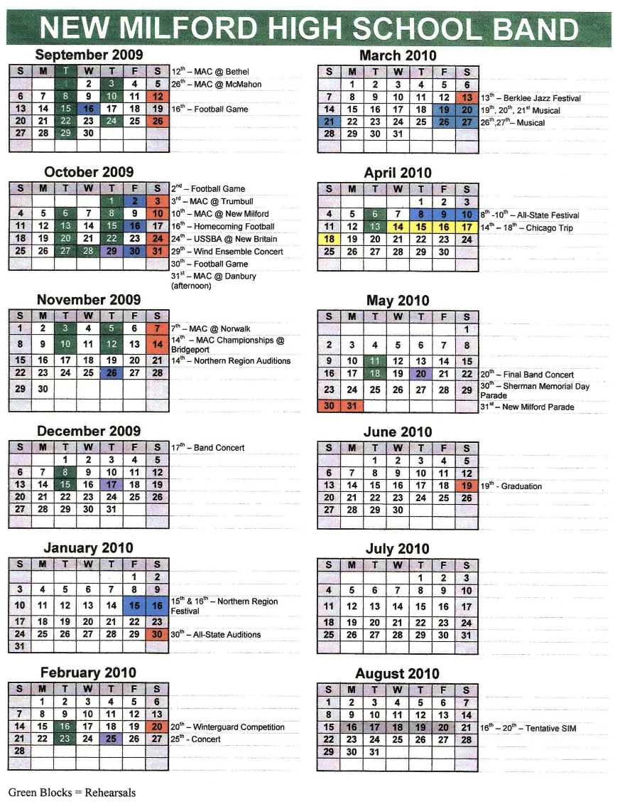 2009 - 2010 NMHS MARCHING BAND SCHEDULE